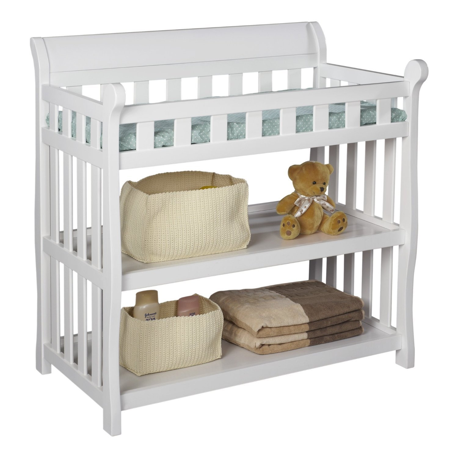 Premium Changing Table Baby Furniture for Diaper Change in Delta Modern White Solid Wood Design
