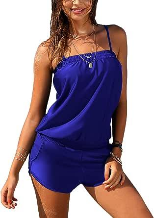EVALESS Women One Piece Spaghetti Strap Padded Tankini Swimwear Coverage Push Up Swimsuit Tummy Control