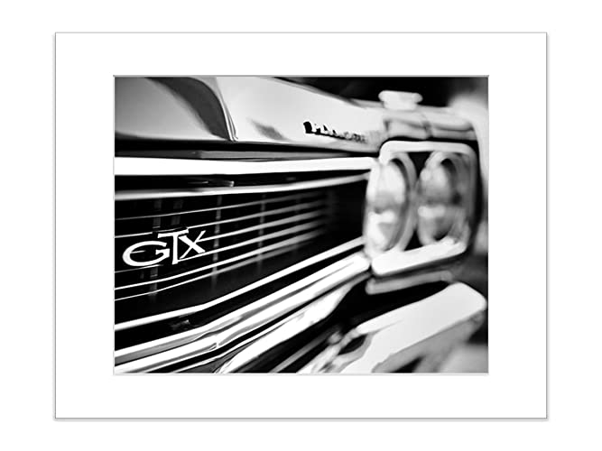 Amazon Com Black And White Muscle Car Photography 5x7 Matted Photo