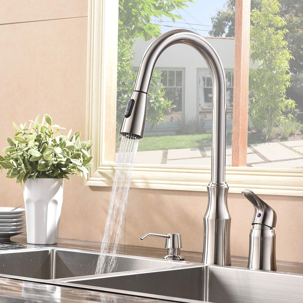 Hotis 3 Hole Kitchen Sink Faucet with Pull Down Sprayer Soap Dispenser Stainless Steel Single Handle Kitchen Faucet, Brushed Nickel by HOTIS HOME (Image #6)