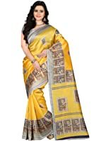 e-VASTRAM Women's Art Mysore Printed Silk(NS3D_Yellow)
