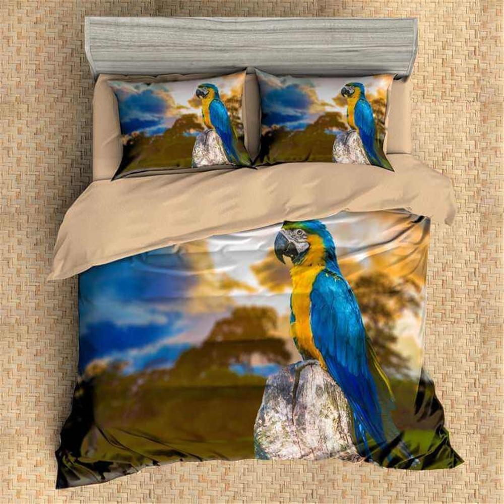 3D Personalized Design Parrot Duvet Cover Set Style Microfiber Decoration Room home (Queen -Style 4)