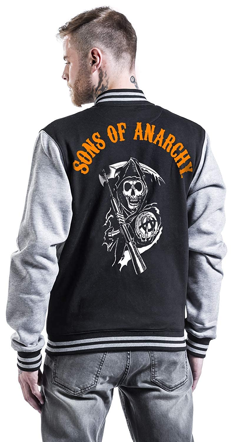 Sons of Anarchy Reaper - Orange Chaqueta Universitaria Jaspeado Negro/Gris