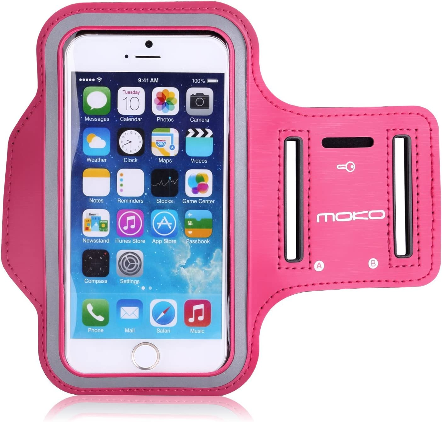 MoKo Armband Compatible with iPhone 6s / 6, Sweatproof Sports Running Armband Workout Arm Band Cover Fit iPhone 6S, 6, 5S, 5, Galaxy S7, S6 Edge, Magenta (Fits Arm Girth 9