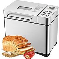 Machine à Pain 19 programmes, Aicok Machine a Pain Automatique avec Départ différé Jusqu'à 15H, Maintien au chaud 1H, 3 Tailles de pain et 3 degrés de bronzage, pour yaourt, pain sans gluten, gâteaux