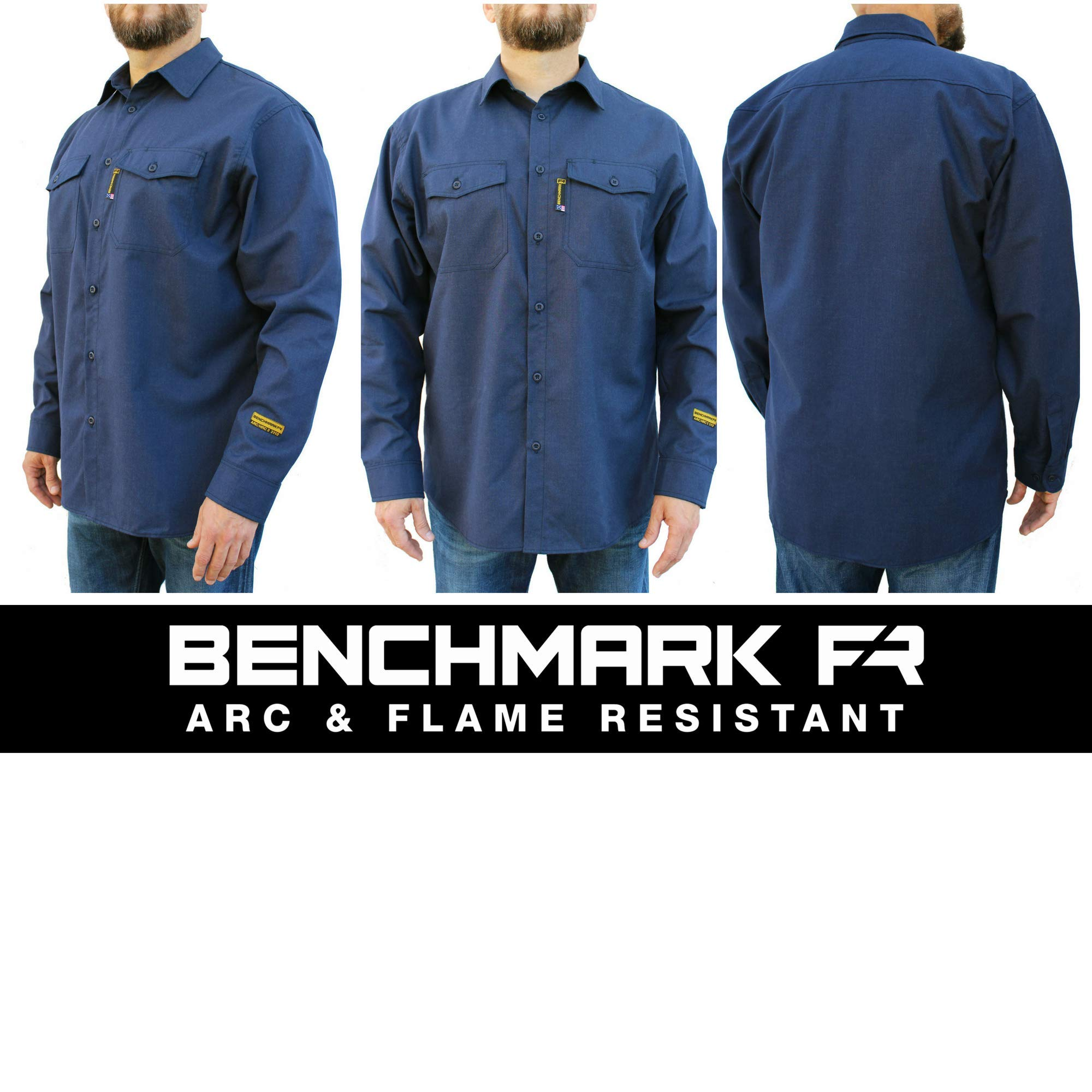 Benchmark FR Silver Bullet, 5.1 oz Ultra Lightweight FR Shirt, NPFA 2112 & CAT 2, Moisture Wicking, Men's FRC with 9 Cal rating, Made in USA, Advanced FR Materials, Navy, Large by Benchmark FR (Image #3)