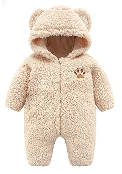 Newborn Infant Baby Boys Girls Cute Bear Hooded Romper Jumpsuit Bodysuit Outfits