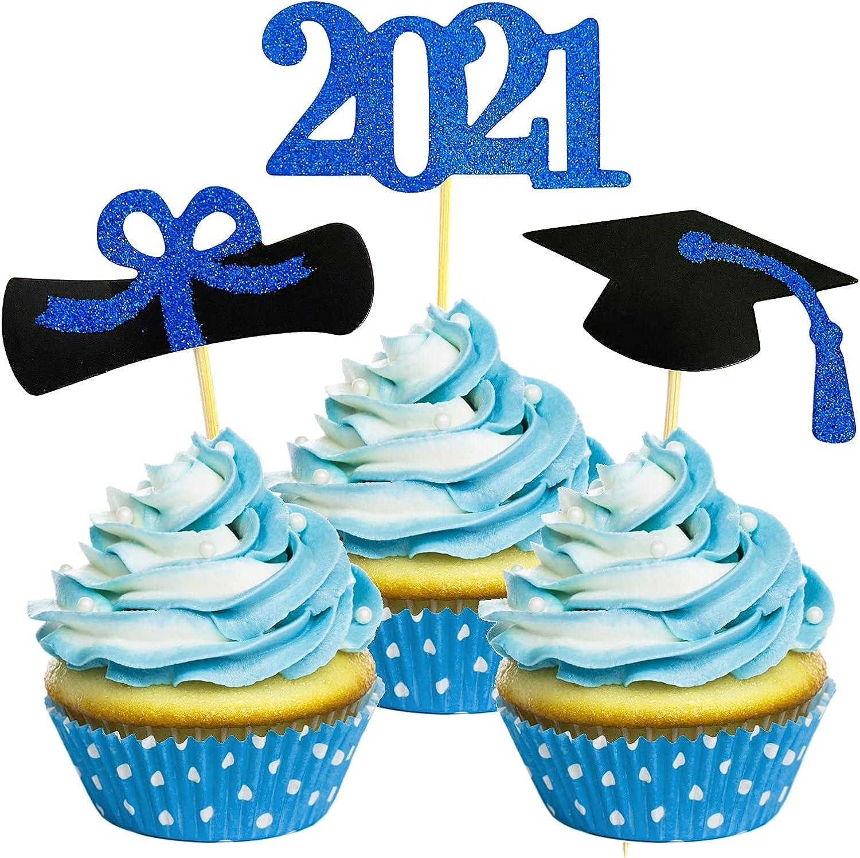Larchio 2021 Graduation Cupcake Toppers,48pcs Navy Blue Graduation Cap Cupcake Toppers Food Picks for Class of 2021 Blue Graduation Cupcake Decorations