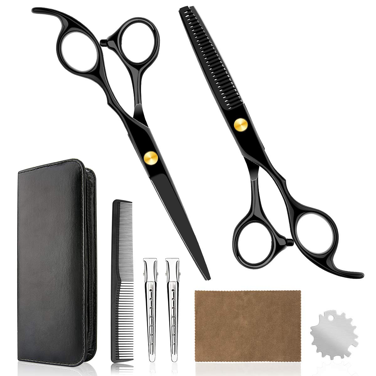 Professional Home Hair Cutting Kit - Quality Home Haircutting Scissors Barber/Salon/Home Thinning Shears Kit with Comb and Case for Men and Women (Black #2)