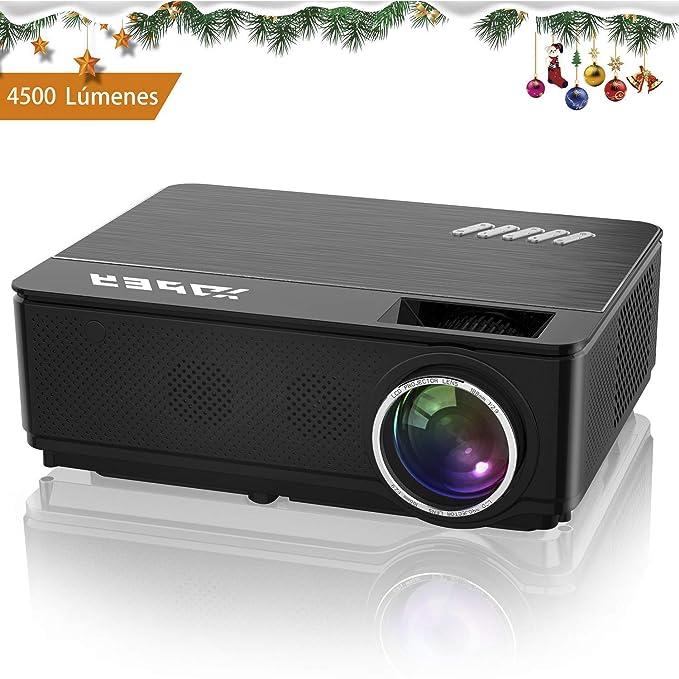 YABER Proyector Soporta Full HD 1080P 4500 Lúmenes Proyector Cine en Casa con Dos Altavoces Estéreo Alta Fidelidad y Sistema de Refrigeración de Tres Ventiladores, con 200