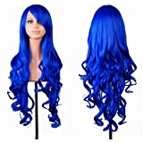 "32"" Long Hair Heat Resistant Spiral Curly Cosplay Wig Dark Blue"