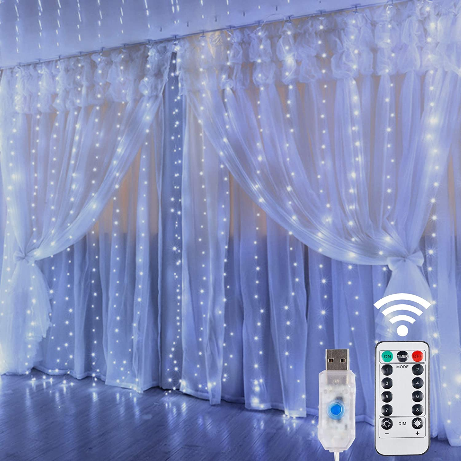 HOME LIGHTING Window Curtain String Lights, 300 LED 8 Lighting Modes Fairy Copper Light with Remote, USB Powered Waterproof for Christmas Bedroom Party Wedding Home Garden Wall Decorations, Cool White