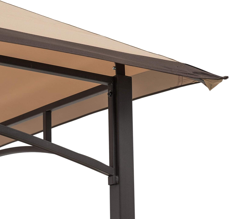 Steel 2-Tier Grill Gazebo Sunjoy A103002202 Mynah 5x8 ft Tan /& Black