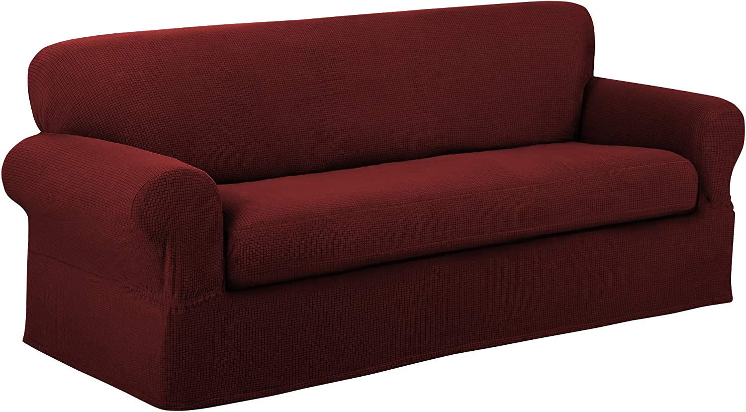 2x Spandex Stretch Sofa Separate Single Cushion Slipcover Cover Replace Red