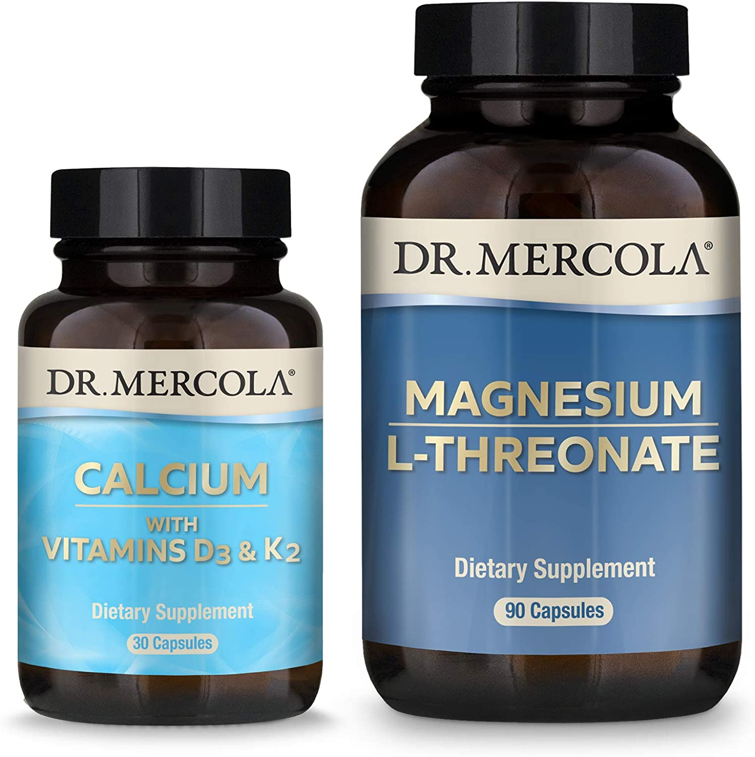 Dr. Mercola Calcium D3 & K2 and Magnesium L-Threonate Pack (30 Servings), Supports Bone and Cardiovascular Health, Non GMO, Soy Free, Gluten Free