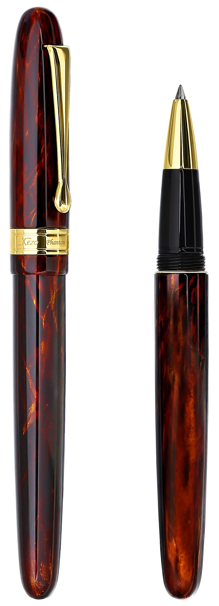 Xezo Phantom Rollerball Pen. Limited-edition of 500. Individually Numbered. Screw-on cap. 18-Karat Gold Plated. Triple Layer of Translucent Coating by Xezo (Image #2)
