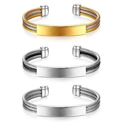 b5cc9cdf0d36 JewelryWe Pulsera Personalizada con Placa para Grabar Mensaje ...
