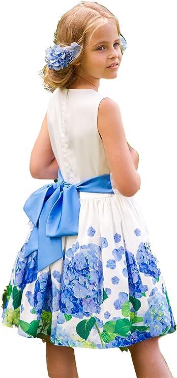 Boutique vestido blanco con tul y hortensias con 100% algodón forro White dress with blue hydrangeas Talla:3-4 years 104cm: Amazon.es: Bebé