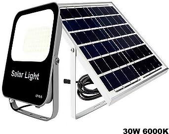 POPP®Foco Solar Exterior,lluminacion Exterior Solar,30W LED 6000K IP65 Impermeable,Lampara Solar para Jardin,Garaje,Acera,Escaleras,Patios,Terraza[Clase de eficiencia energética A+++] (30 Watios): Amazon.es: Iluminación