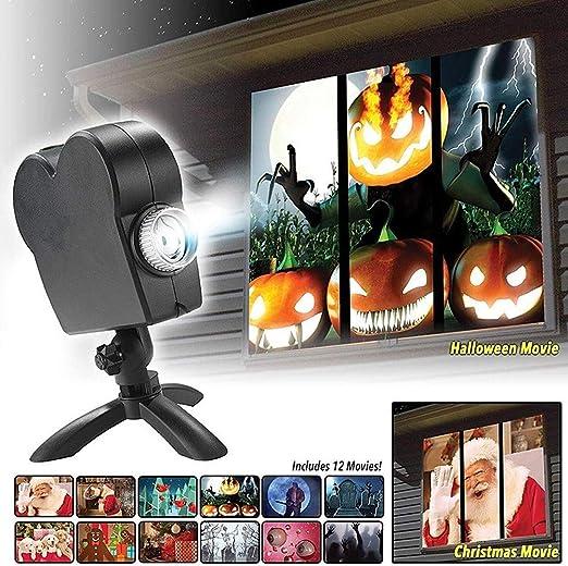 Ventana de Halloween Navidad proyector de luz, 12 Películas de ...