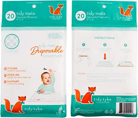 Stick on Placemat Bulk Pack Table Mat Stays in Place BPA Free Plastic Extra Sticky Disposable Placemats Baby Keeps Toddlers Neat /& Safe at Restaurants! Tidy Tyke Ultimate Mom Hack