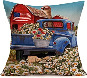 Aremetop Pillow Covers Farmhouse Decor Flower Market Daisy Blue Truck Summer Blooms Country Decorative Throw Waist Pillow Case Cotton Linen Cushion Cover for Couch Patio,18x18 Inches,American Flag