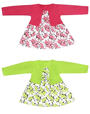 f28adb9b9 Babeezworld Regular Daily Wear Baby Girl's Cotton Full Sleeves Frock with  Attached Shrug Dress (Kids Combo Set Pack of 2): Amazon.in: Clothing &  Accessories