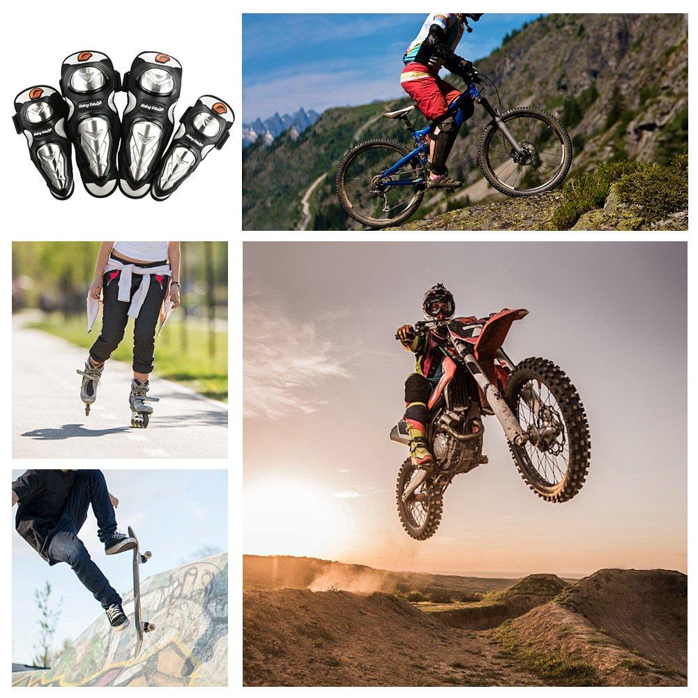 Cofit Motocicleta Rodilleras Codos Protectores Anti-Ca/ída para Motocross Ciclismo Deportes al Aire Libre Conjunto Negro
