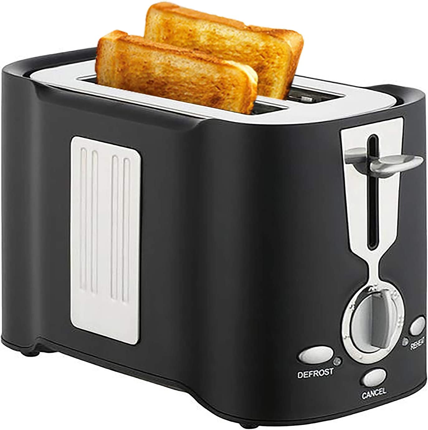 2 Slices Toaster, Stainless Steel Wide Slot Toaster, Detachable Crumb Tray, Defrosting/Reheating/One Key Cancel Function, 6 Kinds of Bread Lampshade Settings, Convenient and Fast (Black)