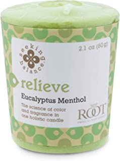 product image for Root Candles Seeking Balance 20-Hour Votive Candles, 18-Pack, Relieve: Eucalyptus Menthol, 18 Count