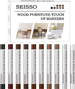 Furniture Repair Wax Crayon, 10 Colors Wood Repair Kit, Premium Wood Scratch Repair Crayon, Upgrade Wood Scratch Remover Wax Sticks for Floor, Table, Door, Cabinet