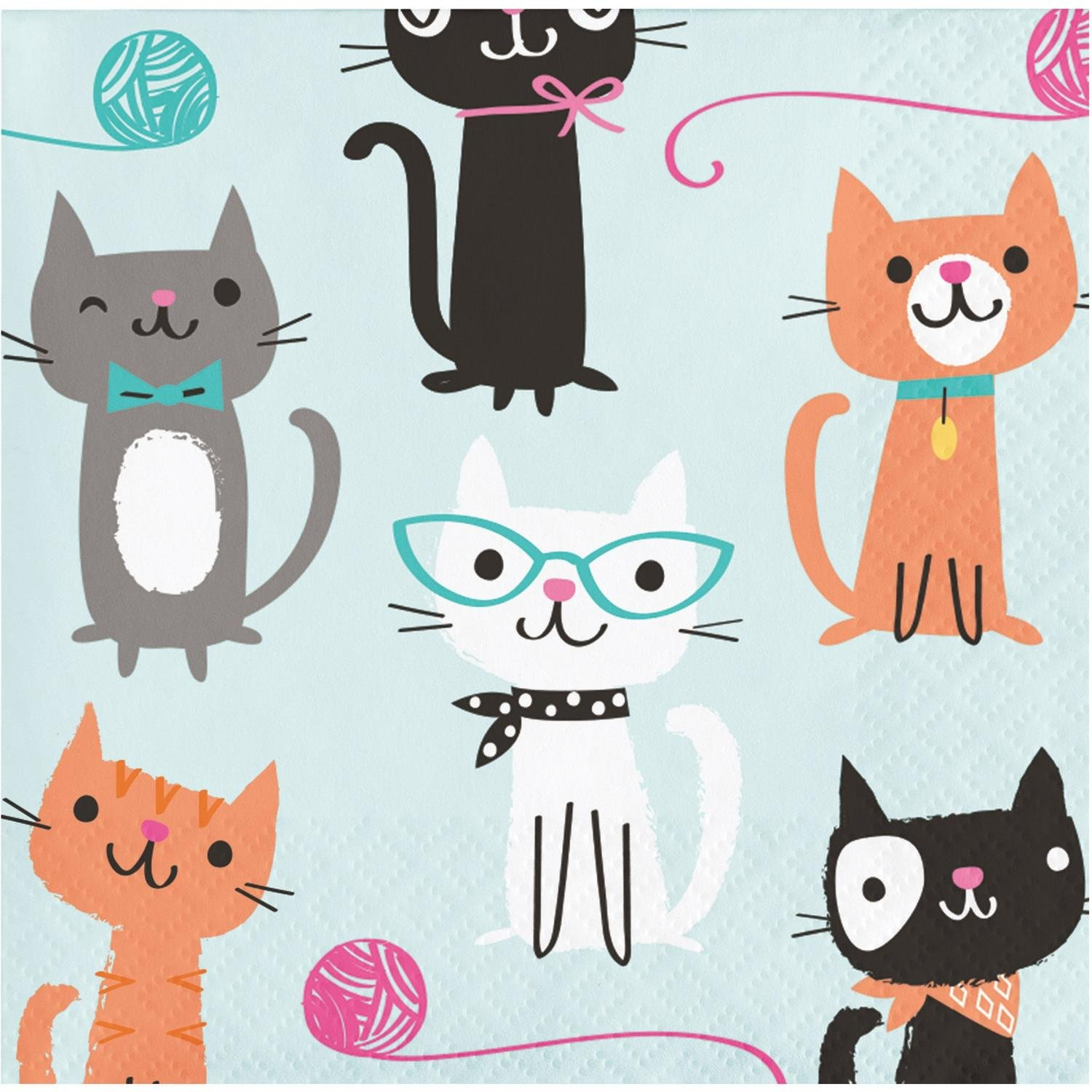 Club Pack of 192 Multicolored Cat Printed Disposable Beverage Napkins 5''