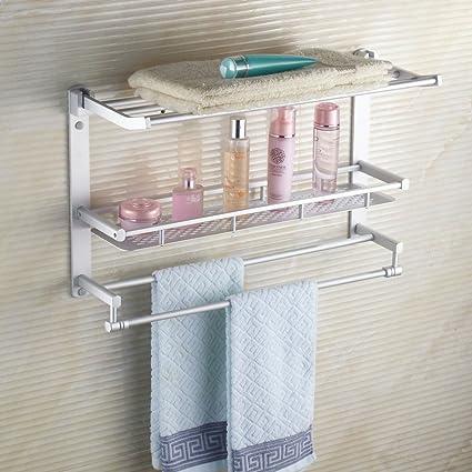 Toallero aluminio espacio de capa 3 toallas de baño baño rack admite hardware de bastidor plegable