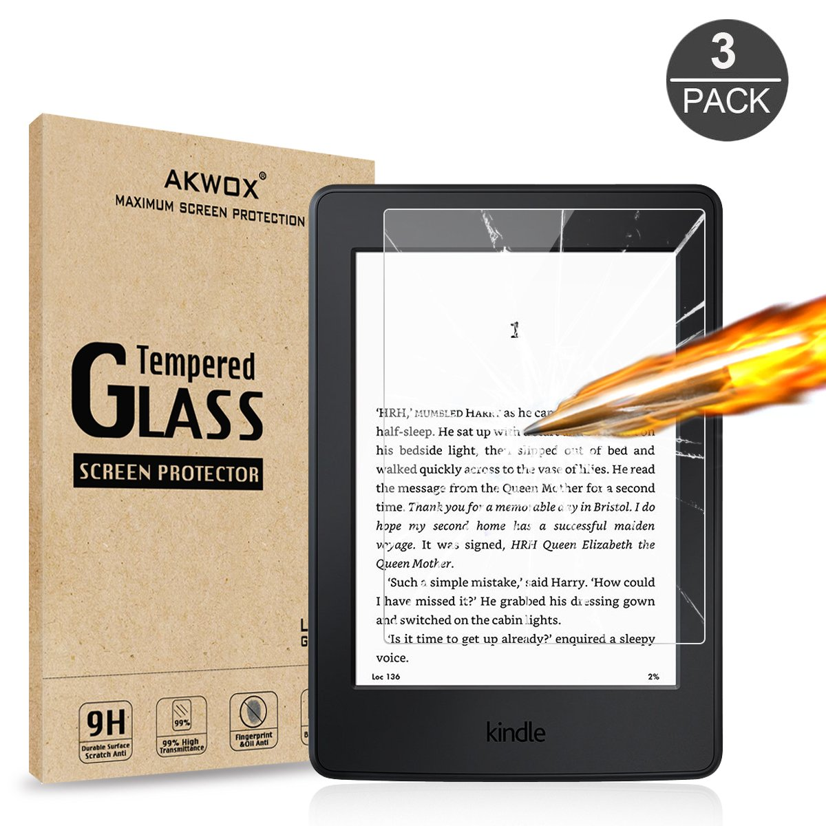 (3-Pack) Tempered Glass Screen Protector for Kindle Paperwhite, Akwox [0.3mm 2.5D 9H ] Anti-fingerprint Premium Screen Protector for Kindle, Kindle Paperwhite, Kindle Paperwhite 3 and Kindle Touch