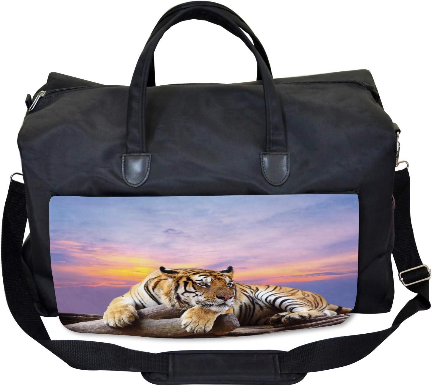 Ambesonne Safari Gym Bag Tiger Colorful Sunset Large Weekender Carry-on