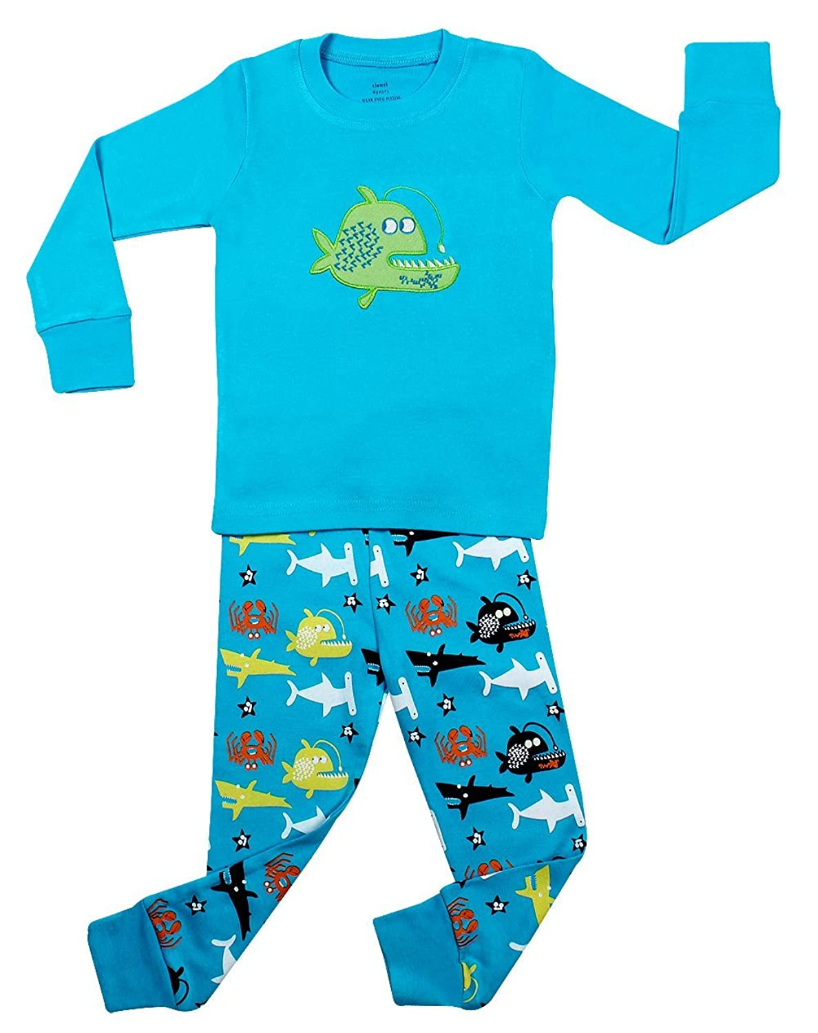 com elowel little boys whale fish piece pajama set  com elowel little boys whale fish 2 piece pajama set 100% cotton 6m 8 years clothing