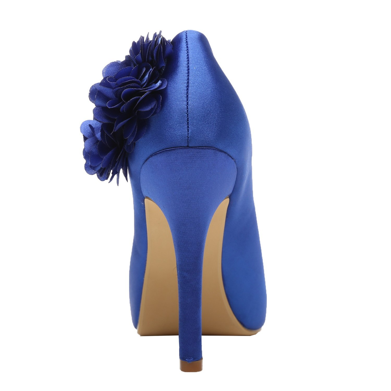 M MULGARIA Women High Heel Pumps Satin Platform Peep Toe Flowers Satin Pumps Evening Prom Wedding Shoes B0791F4GT3 EU 40/8.5B(M)US Royal Blue 050a97