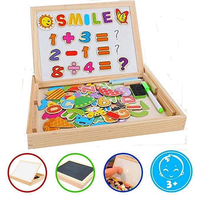Puzzles Enfant en Bois Magnétique, COOLJOY Jigsaw avec Tableau Noir de Chevalet à Double Face Jouets Educatif pour Bambin Enfants Fille 3 Ans 4 Ans 5 Ans - Lettres et Chiffres - 100 Pièces - Puzzle Aimant