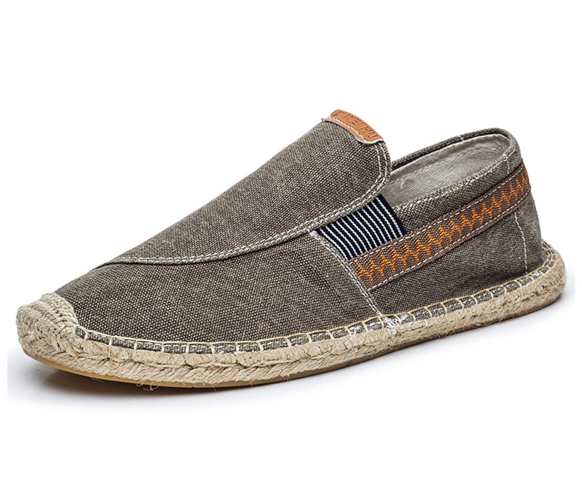 BEFAiR Canvas Cloth Shoes Slip on Loafers Vintage Leisure Walking Sneakers for Men Grey
