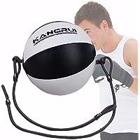 Bola de Boxeo de Cuero, SGODDE Velocidad Dodge Ball Doble final Gimnasio MMA Boxeo Sports Punch Bag De piso a Cuerda de Techo de Entrenamiento (longitud 4,76 pies)