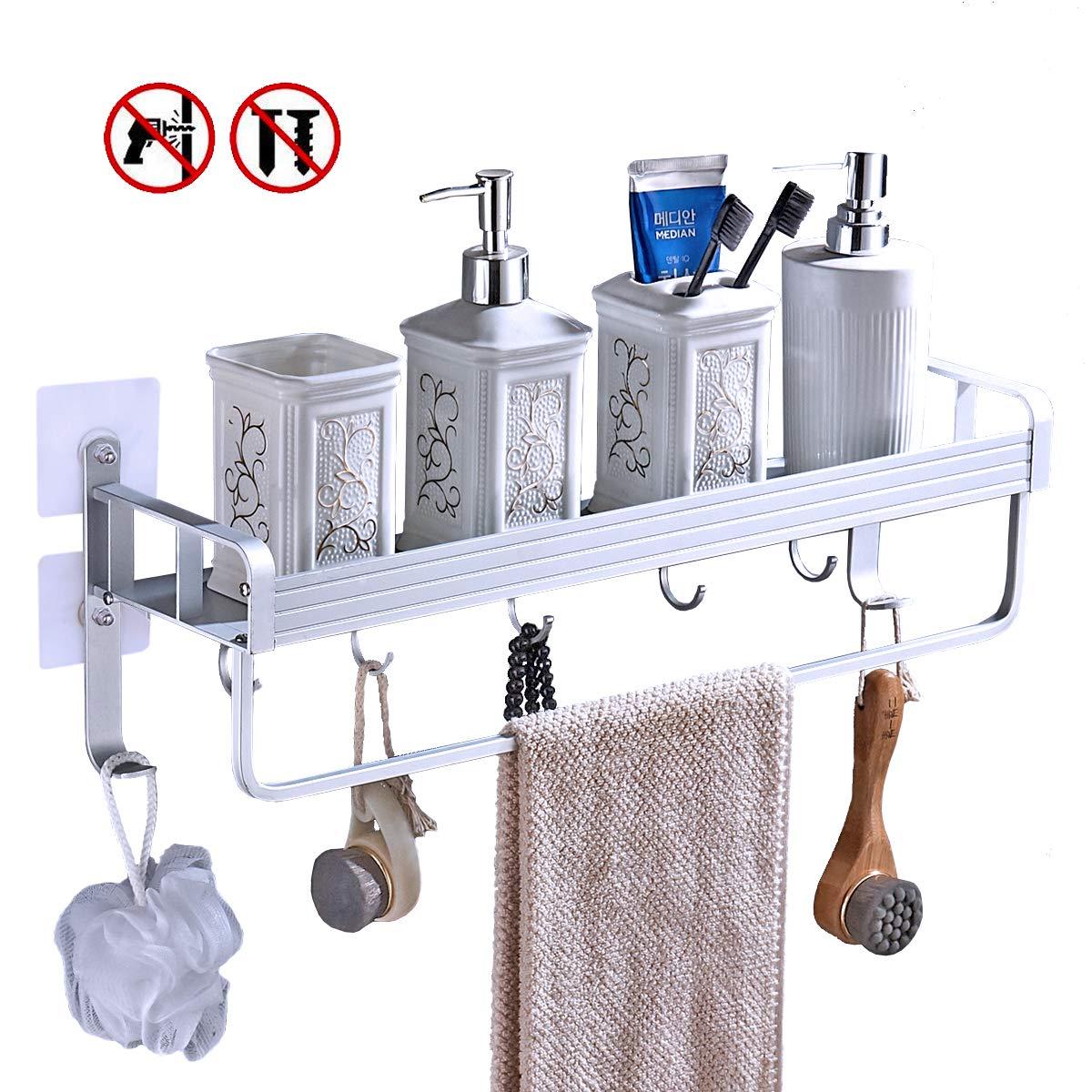 Yeegout mensola bagno no viti con portasciugamani e ganci, Alluminio Adesivo Montaggio a parete mensola per doccia per cucina