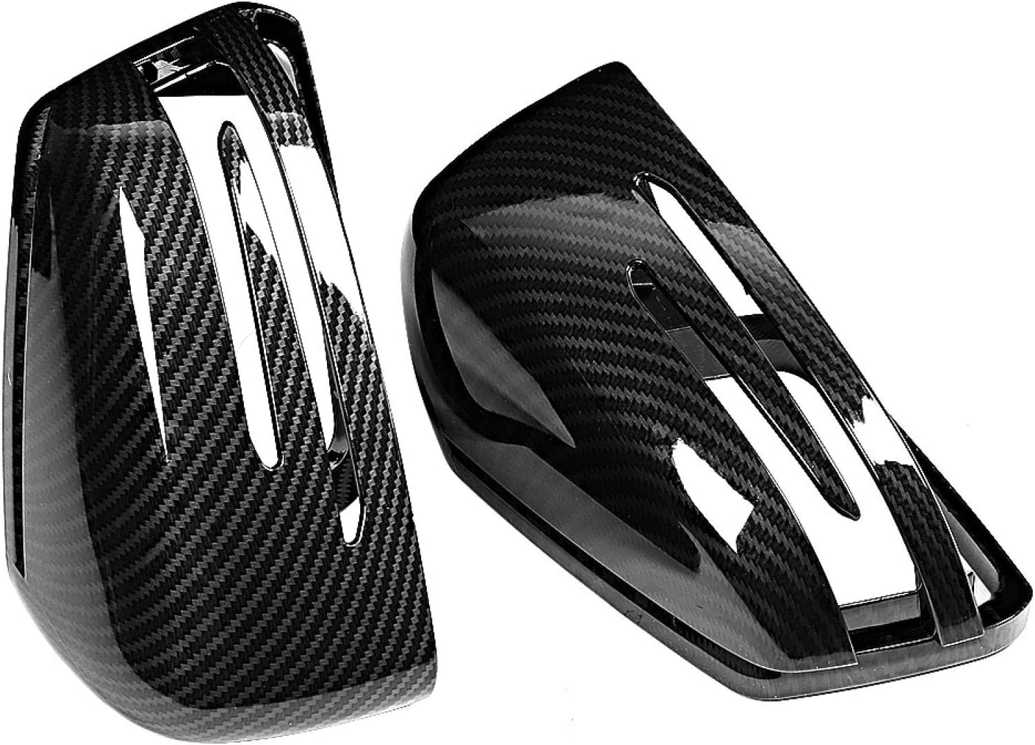 cubierta de espejo retrovisor para Benz Clase A W176 2012-2017 2 piezas de fibra de carbono con textura de fibra de carbono Cubierta de espejo retrovisor