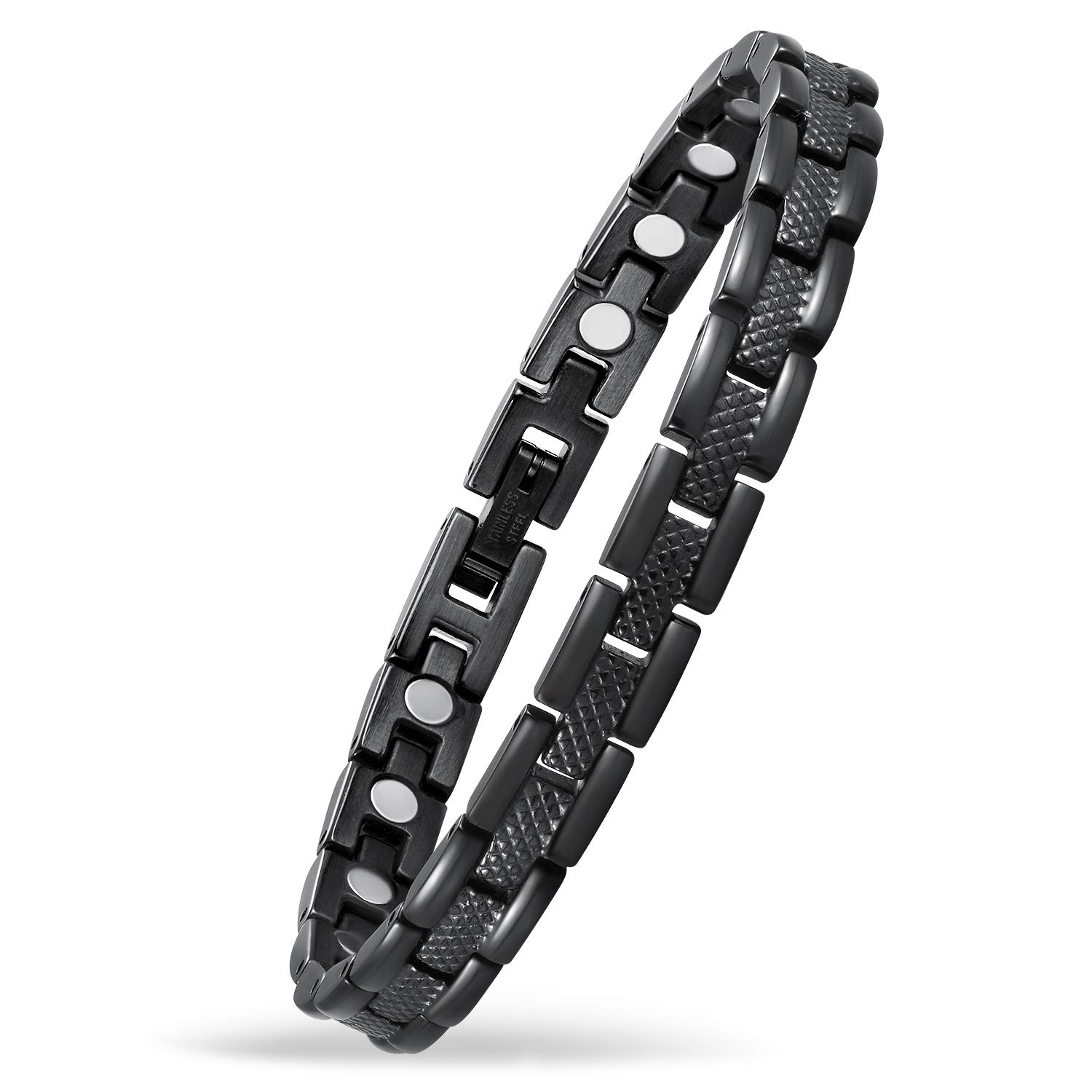 USWEL Pain Relief Bracelet for Women Magnetic Therapy Wrist Bracelet: Powers Arthritis and Carpal Tunnel with Free Removal Tool Black