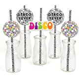 70's Disco - Paper Straw Decor - 1970's Disco Fever Party Striped Decorative Straws - Set of 24