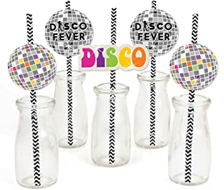 product image for 70's Disco - Paper Straw Decor - 1970's Disco Fever Party Striped Decorative Straws - Set of 24