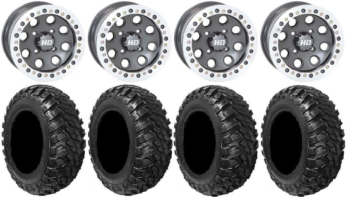 Bundle - 9 Items: STI HD Beadlock 14'' Wheels 28'' Kanati Mongrel Tires [4x156 Bolt Pattern 10mmx1.25 Lug Kit] by Powersports Bundle (Image #1)