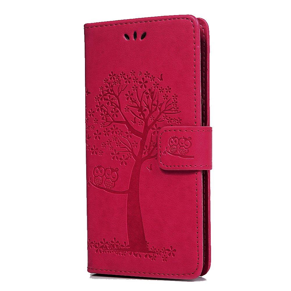 Tophung Funda para Huawei Y6 2018, diseño de búho, piel sintética, con cierre magnético, con ranuras para tarjetas de identificación, para Huawei Y6 Honor 7A, rosa