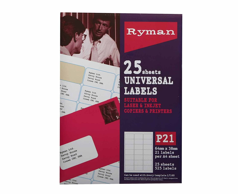 Etiquetas de dirección Ryman P21 Universal 64 x 38 mm 21 por hoja A4 ...