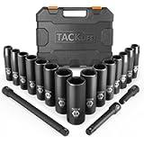 TACKLIFE Drive Impact Socket Set, 18pcs 1/2-inch Drive Deep Impact Socket Set, 6 Point, 10-24mm, 15pcs Metric Sockets…