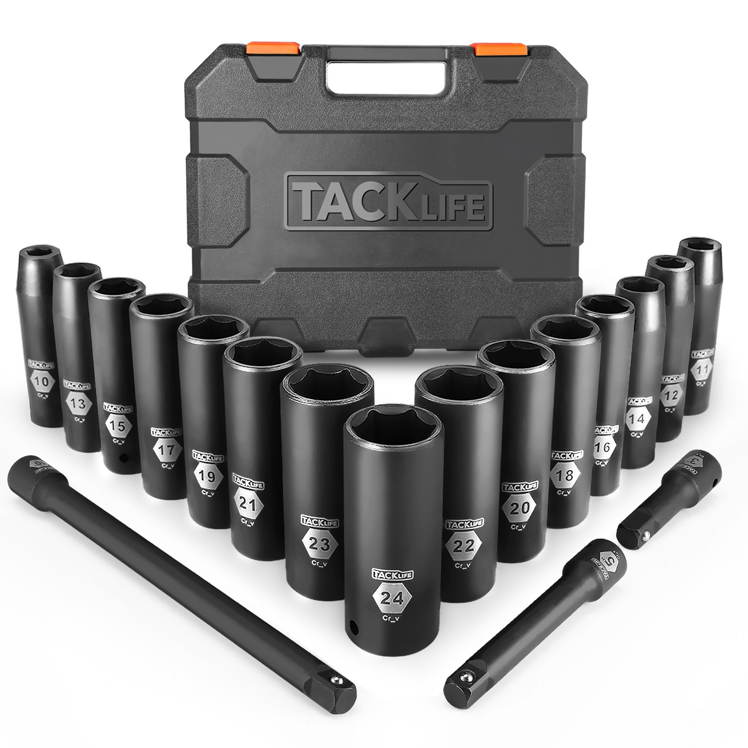 Drive Impact Socket Set, Tacklife 18pcs 1/2-inch Drive Deep Impact Socket Set, 6 Point, 10 - 24mm, 15pcs Metric Sockets with 3pcs 1/2-Inch Drive Impact Extension Bar Set - HIS1A by TACKLIFE